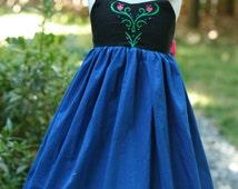 Girls Anna Frozen Cotton Every Day Wear Dress