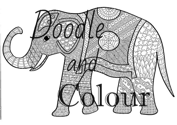 Free zentangle elephant coloring pages ~ Elephant Adult Colouring Page Instant Download Printable