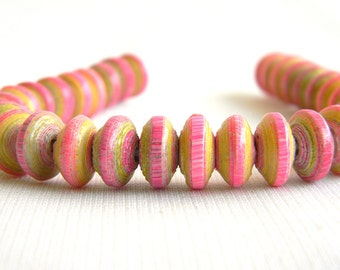 Paper Bead Jewelry Supplies - Paper Beads - Hand painted - NEON - Lot of 32 - #640