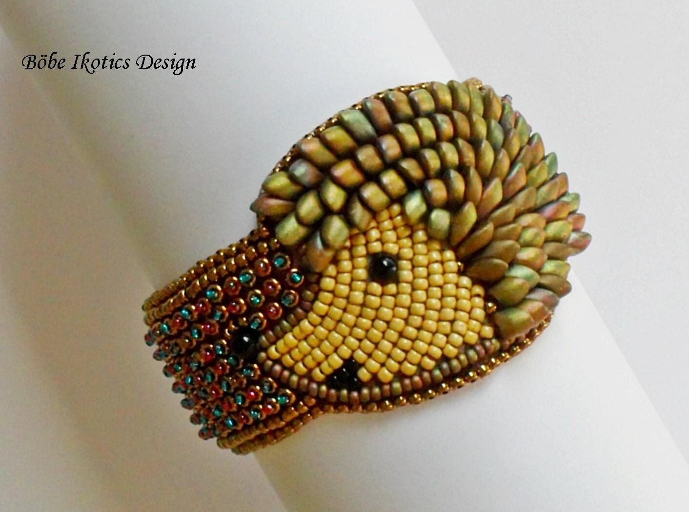 Bead embroidery cuff bracelet bronze gold blue by bobeikotics