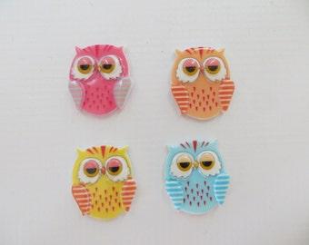 Cute Chubby Owls Pendants-Flat Backs-Cabochons-Set of 4
