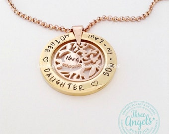 31mm Gold Ring Pendent with Rose Tree of Life Pendent - Custom Names