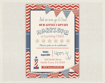 Nautical 1st Birthday Invitation / Printable Download / First Birthday Photo Invitation Invites Red and Blue Sail Boat ref102