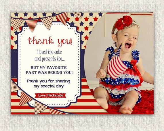 4th july birthday thank you card thank you note personalized thanks il570xn stopboris Image collections