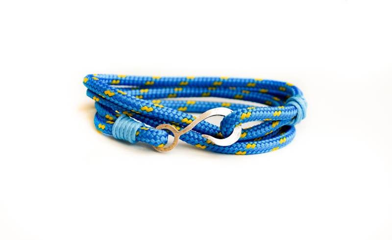 Blue fish hook mens paracord bracelet by cristinahandmade for Mens fishing bracelet