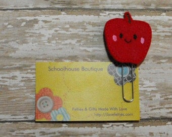 Kawaii Apple felt paperclip bookmark, felt bookmark, paperclip bookmark, feltie paperclip, christmas gift, teacher gift