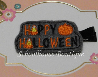Happy Halloween Felt Hair Clips with your choice of ribbon color,Felties,Feltie Hair Clip,Felt Hairbow,Felt Hair Clippie,Party Favor