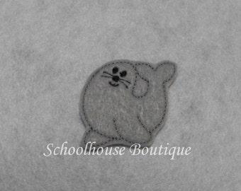Sea Lion felties, feltie, machine embroidered, felt applique, felt embellishment, hairbow center, scrapbook embellishment