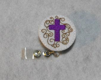 Cross felt badge reel, name badge holder, nurse badge, ID holder, badge reel, retractable badge clip, feltie badge reel