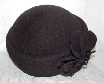 Adolfo II 80s Wool Hat Paris New York Adolfo II Women's Black Wool Hat