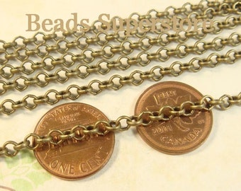 SALE 4 mm Antique Bronze Rolo Chain - Nickel Free and Lead Free - 3 meters (about 10 feet)