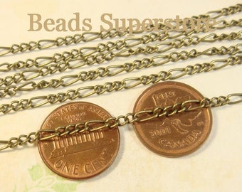 SALE Antique Bronze Mother-Son Curb Chain - Nickel Free and Lead Free - 3 meters (about 10 feet)