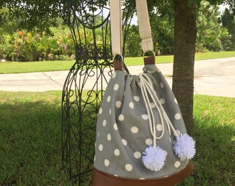 Gray and White Dots Canvas and Leather Bucket Bag with Adjustable Straps, String and PomPoms