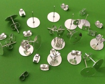 50 sets 10 mm Silver plated Earring Post with butterfly back,silver platd earring post,silver ear nuts,silver findings,earring setting,