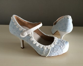 Custom blue wedding shoes. Something blue shoes (Exclusive package)