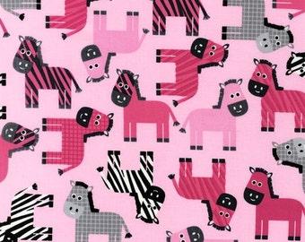 Half metre Robert Kaufman - Urban Zoologie Pink Zebra patchwork quilting fabric