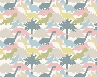 Lewis & Irene Patchwork Quilting Fabric - A002-3 Jurassic Coast Dinosaurs