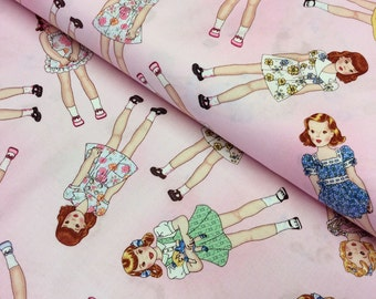 Patchwork Quilting Fabric Timeless Treasures Paper Dolls Allover Pink