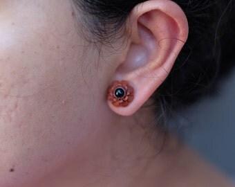 Black Daisy Earrings - Daisy Stud Earrings - Post Stud Earrings