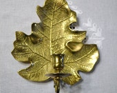 Vintage Brass Candle Holder Leaf Wall Sconce Fritz Brass Panchosporch
