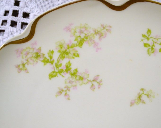 Haviland Limoges French China Plate Pink Green Flowers Vintage Decor PanchosPorch