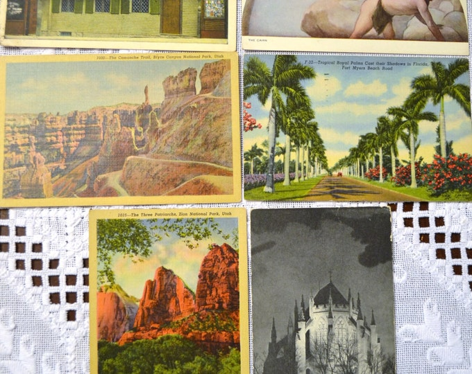 Vintage Postcard Set of 6 Florida Utah Washington DC Massachusetts Various Travel Souvenirs PanchosPorch