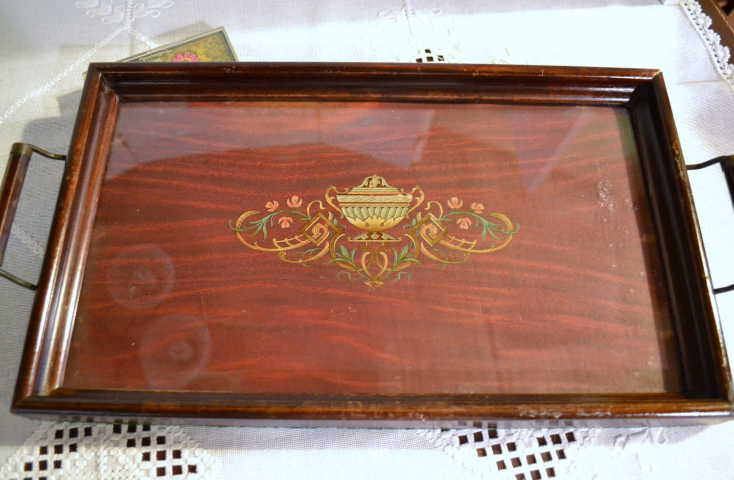Vintage Wood Serving Tray Inlaid Wood Design Glass Top Brass