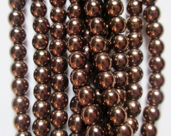"""Hematite Round Beads 4 mm, Red Copper Plated Hematite - Full Strand 16"""", 104 beads, A - Quality"""