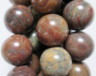 "Genuine Jasper Beads - Round 10 mm Gemstone Beads - Full Strand 16"", 39 beads, A-Quality"