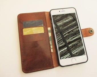 Leather iPhone 6/6s Plus case and wallet  in cognac, handmade sleeve, cover