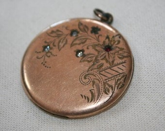 SALE ~ Vintage Locket Antique Pendent 1874 Atrice Flowers Gold Filled
