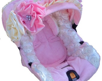 NollieCovers Infant Car Seat Replacement Cover Silver Package (Baby Ice Rose)