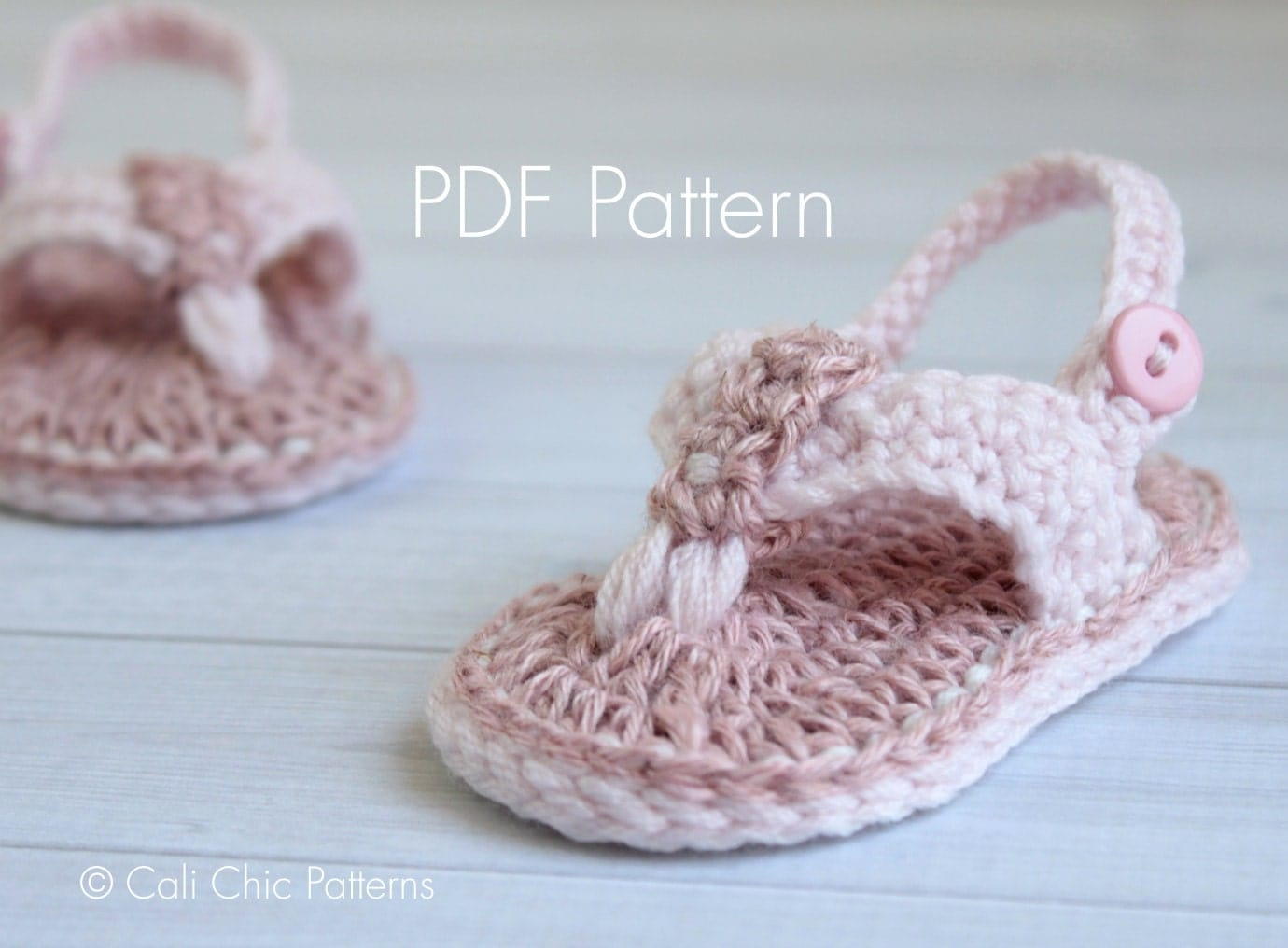 Free Printable Crochet Patterns For Baby Sandals : Crochet PATTERN 312 Malibu Baby flip flops pattern Crochet