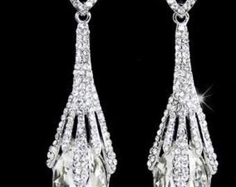 Austrian Crystals Teardrop Earrings