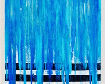 20x16 ORIGINAL Abstract Painting on Canvas Dripping Shades of Blue over Stripes