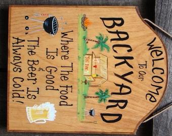 Custom Pool Oasis Backyard Sign Yard Beach By Creativedesigns77