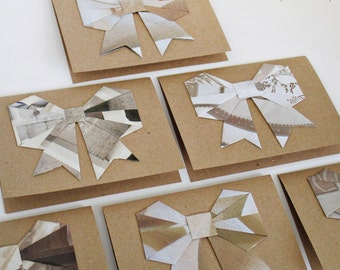 Recycled Magazine Origami Bow Blank Kraft Note Cards - Neutral