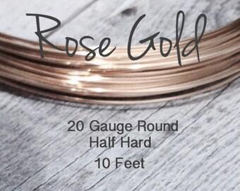 15% Off SHOP! 14K ROSE Gold Filled Wire, 20 Gauge, 10 Foot WHOLESALE, Round, Half Hard