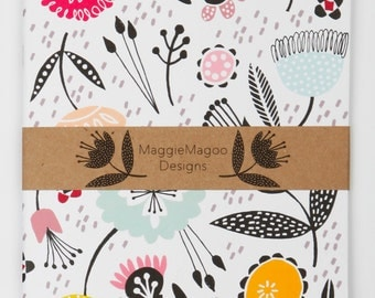 A5 floral notebook journal by MaggieMagoo Designs. Designed & printed in the UK.