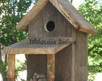 Rustic Country Cabin Birdhouse-Rustic Birdhouse-Primitive Birdhouse-Barnwood Birdhouse-Rustic Barnwood Birdhouse-Rustic Birdhouses