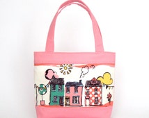 Mini Tote Bag / Girls Bag / Kids Bag - Pink Houses
