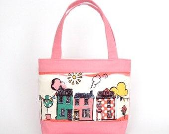 Mini Tote Bag / Girls Bag / Kids Bag - Pink Houses