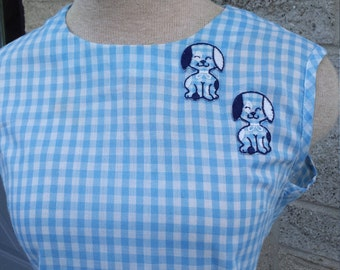 50s gingham sleeveless blouse with patch