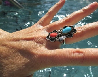 Turquoise and Coral Ring Ring Size 6