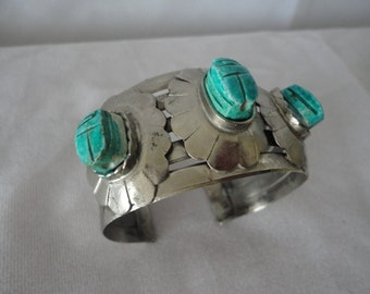 Hand Crafted Scarab Silvertone Cuff Bracelet*****.