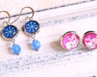 Small Dangle earrings Czech glass earrings Floral cabochon Stud earrings