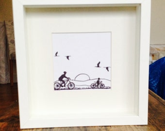 Sunset Cycling Framed Pen Drawing