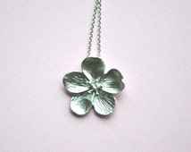 Sakura Cherry Blossom Matte Silver Necklace