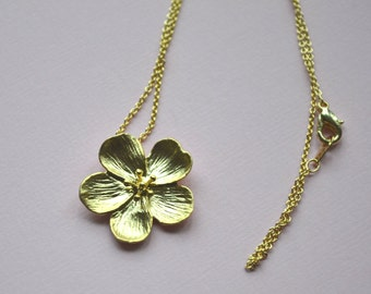 Sakura Cherry Blossom pendant necklace in matte gold