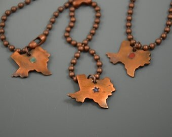 Heart of Texas copper enameled pendant and chain